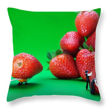 Throw Pillow featuring the photograph Moving Strawberries To Depict Friction Food Physics by Paul Ge