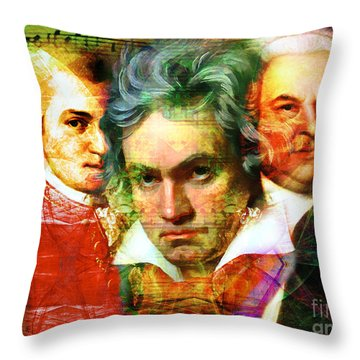 Mozart Beethoven Bach 20140128 Throw Pillow