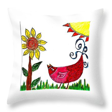 Mprints - Rosie 1 Throw Pillow by M  Stuart