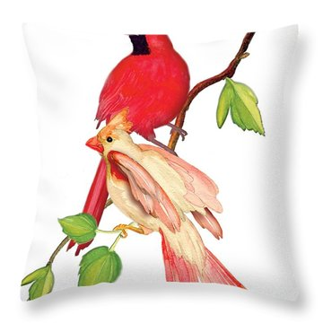 Throw Pillow featuring the painting Mr. And Mrs. Cardinal by Anne Beverley-Stamps