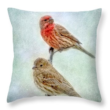 Mr And Mrs House Finch Digital Paint Throw Pillow by Debbie Portwood