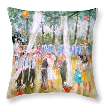 Throw Pillow featuring the painting Mr. And Mrs. Matt Parker by Gertrude Palmer