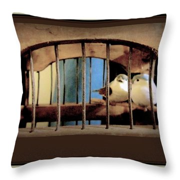 Mr. And Mrs Tweety In Sepia  Throw Pillow by Danielle  Parent