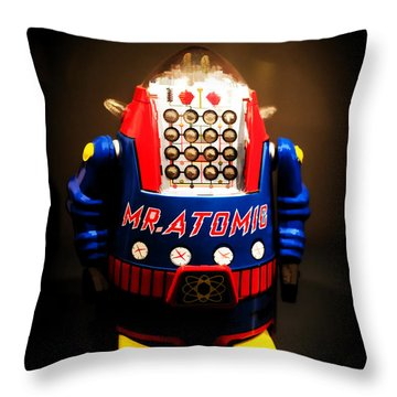Mr. Atomic Tin Robot Throw Pillow by Edward Fielding