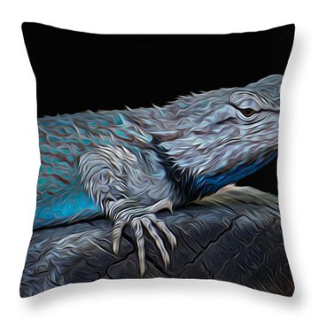 Mr Blu Throw Pillow by Michael Moriarty