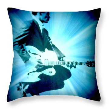 Mr Chuck Berry Blueberry Hill Style Edited Throw Pillow by Kelly Awad