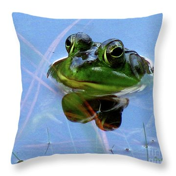 Throw Pillow featuring the photograph Mr. Frog by Donna Brown
