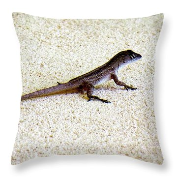 Throw Pillow featuring the photograph Mr. Gecko by Pennie  McCracken