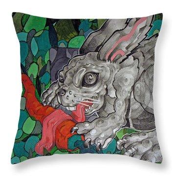 Mr Greedy Bunny Throw Pillow