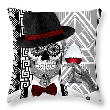 Mr. J.d. Vanderbone - Day Of The Dead 1920's Sugar Skull - Copyrighted Throw Pillow by Christopher Beikmann