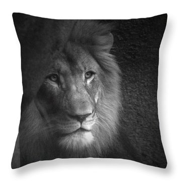 Mr Lion In Black And White Throw Pillow by Thomas Woolworth
