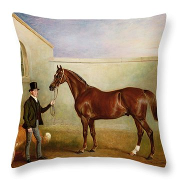 Mr Meakin Holding Sir Robert Peels Chestnut Hunter With His Dogs Hector And Jem Throw Pillow by John E Ferneley