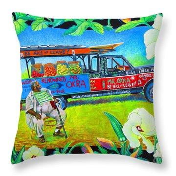 Mr Okra Throw Pillow