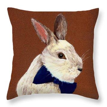 Mr. Rabbit Throw Pillow by Anastasiya Malakhova