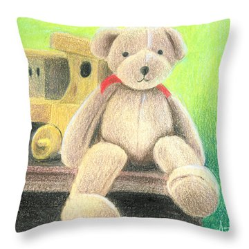 Mr Teddy Throw Pillow by Ana Tirolese