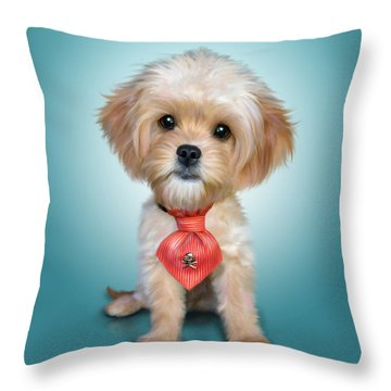 Mr. Toby Waffles The Cavapoo Throw Pillow