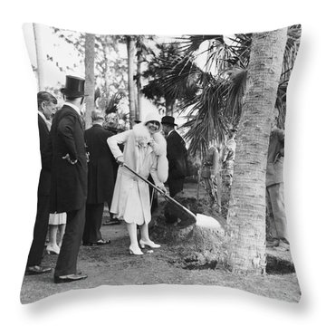 Mrs. Calvin Coolidge Planting Throw Pillow
