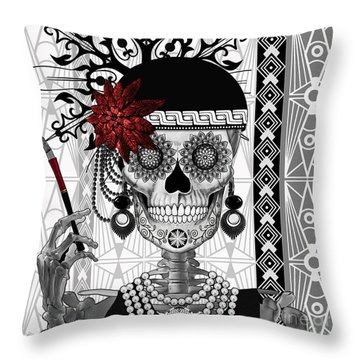 Mrs. Gloria Vanderbone - Day Of The Dead 1920's Flapper Girl Sugar Skull - Copyrighted Throw Pillow by Christopher Beikmann