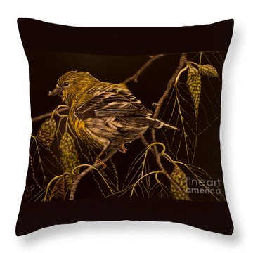 Mrs Goldfinch Throw Pillow