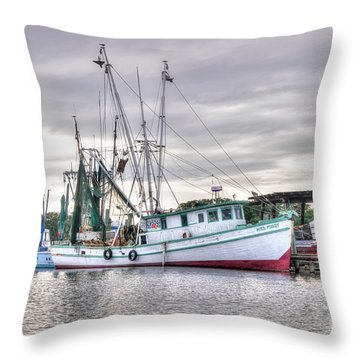 Mrs Pudgy Shrimp Docks Throw Pillow