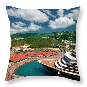 Ms Noordam St Thomas Virgin Islands Throw Pillow by Amy Cicconi