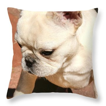 French Bulldog Ms Quiggly  Throw Pillow