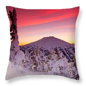 Mt. Bachelor Winter Twilight Throw Pillow by Kevin Desrosiers
