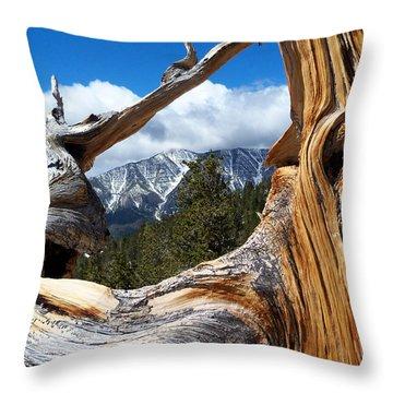 Mt. Charleston Thru A Tree Throw Pillow