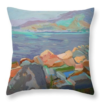 Throw Pillow featuring the painting Mt. Desert From Schoodic Point by Francine Frank