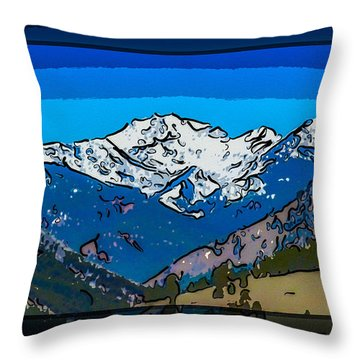 Mt Gardner In The Spring Abstract Painting  Throw Pillow