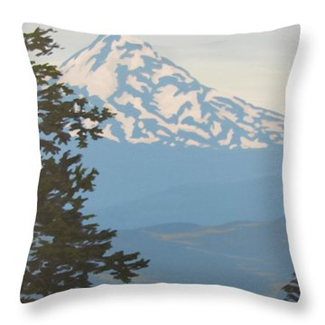 Throw Pillow featuring the painting Mt Hood by Karen Ilari