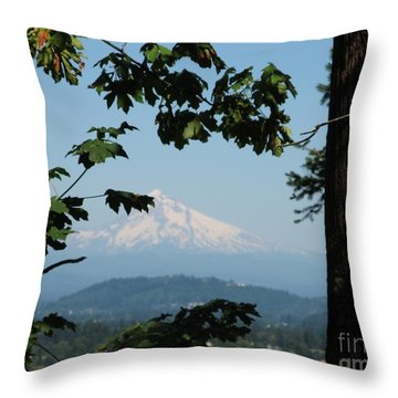 Mt Hood Throw Pillow by Marlene Rose Besso