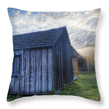 Mt Leconte Cabins Throw Pillow by Debra and Dave Vanderlaan