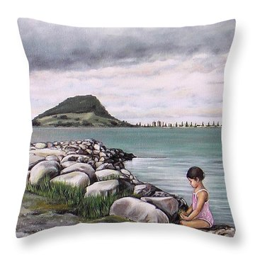 Throw Pillow featuring the painting Mt Maunganui 140408 by Sylvia Kula