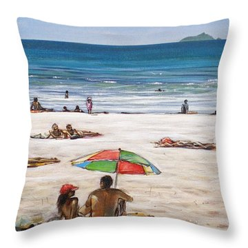 Throw Pillow featuring the painting Mt Maunganui Beach 090209 by Sylvia Kula