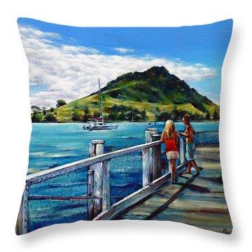 Mt Maunganui Pier 140114 Throw Pillow