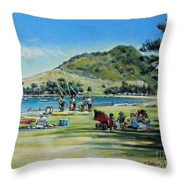 Throw Pillow featuring the painting Mt Maunganui Pilot Bay 201210 by Selena Boron