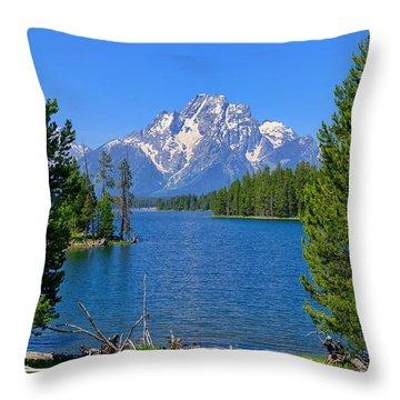 Mt Moran At Half Moon Bay Throw Pillow by Greg Norrell