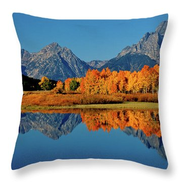 Mt. Moran Reflection Throw Pillow by Ed  Riche