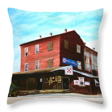 Throw Pillow featuring the painting Mt. Pleasant Milling Company by Stacy C Bottoms