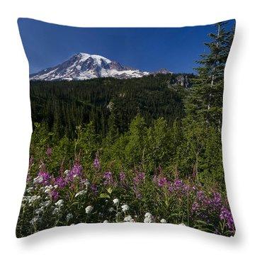 Mt. Rainier Throw Pillow by Adam Romanowicz