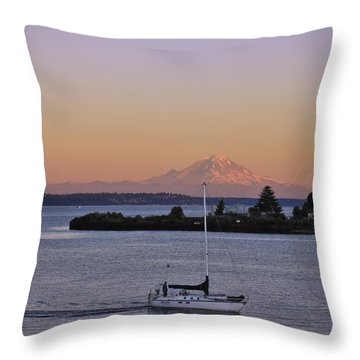 Mt. Rainier Afterglow Throw Pillow by Adam Romanowicz