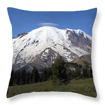 Mt Rainier From Sunrise Park Throw Pillow by Angie Vogel