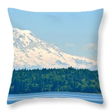 Mt Rainier From The Sound Throw Pillow