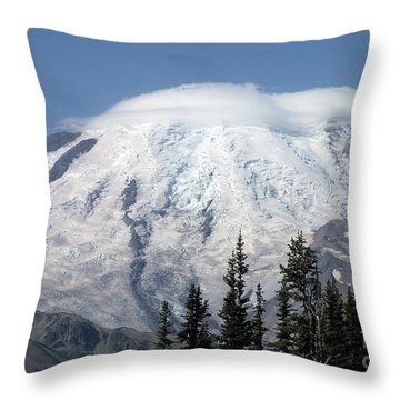 Throw Pillow featuring the photograph Mt. Rainier In August 2 by Chalet Roome-Rigdon