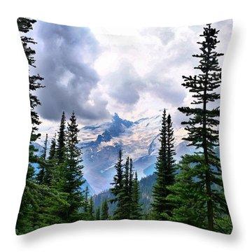 Throw Pillow featuring the photograph Mt Rainier by Lynn Hopwood