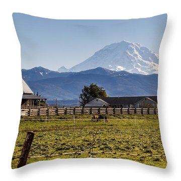 Mt Rainier Ranch Throw Pillow