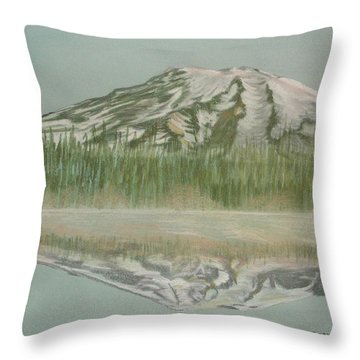 Throw Pillow featuring the pastel Mt Rainier by Terry Frederick