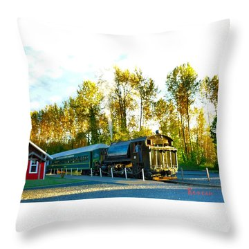 Mt Rainier W A Scenic Railroad Throw Pillow by Sadie Reneau