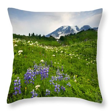 Mt. Rainier Wildflower Profusion Throw Pillow